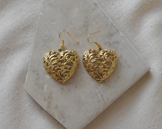 Brass Floral Heart Earrings