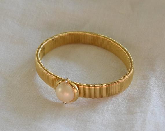 Gold & Pearl Elastic Bracelet