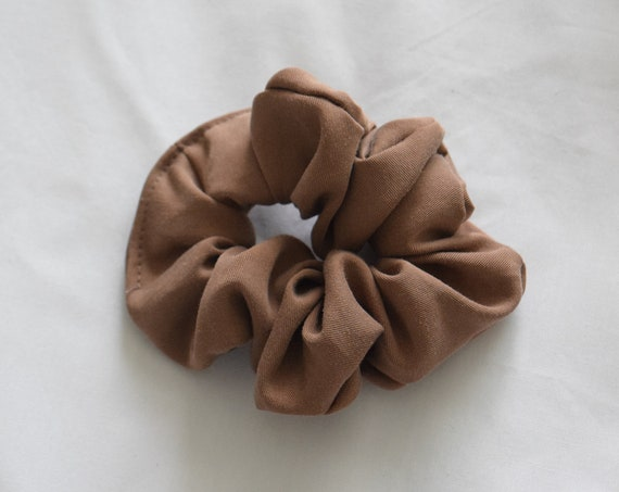 Coffee Tencel Hair Scrunchie