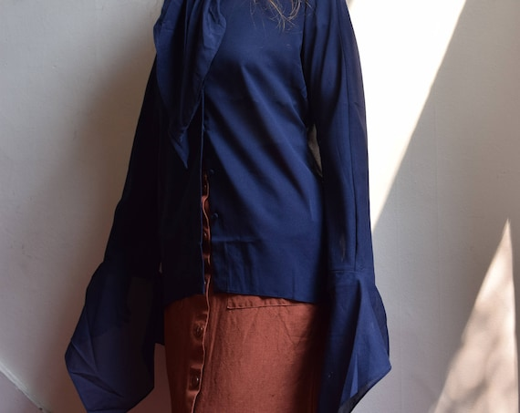Navy Long Sleeve Blouse with Flared Sleeve  | pick your print  ++  SALE ++