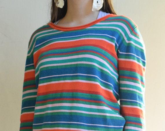 Cotton Multicolor Striped Pullover