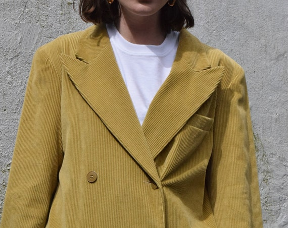 Double Breasted French Corduroy Trenchcoat in Acid Mustard