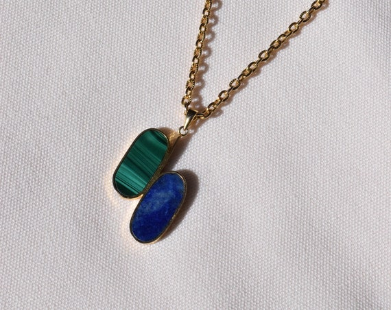 Blue & Green Stone Gold Chain Necklace