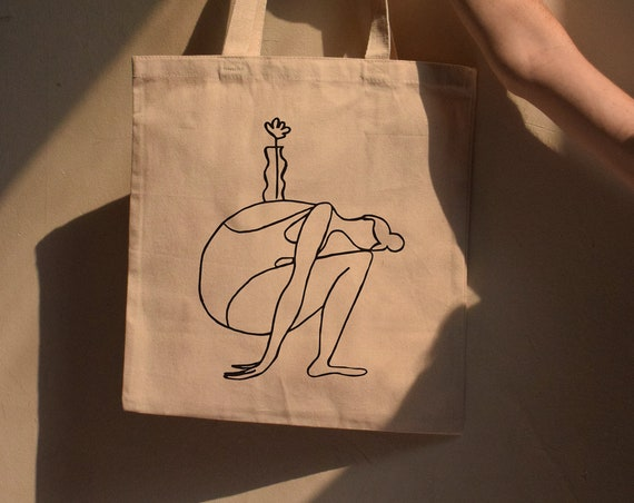 Mara B. Girl With Vase Cotton Canvas Tote - Multiple Color Options
