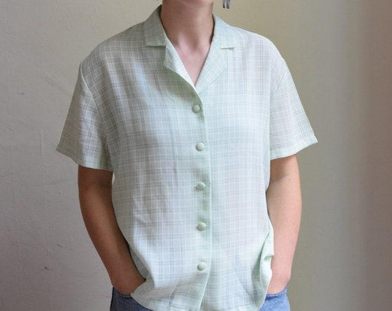 Mint Plaid Short Sleeve Blouse.