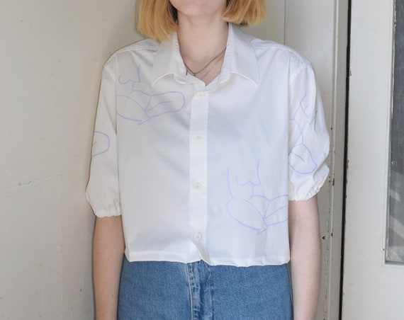 White Moira Resew Balloon-Sleeve Shirt
