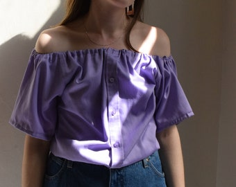 Lena Off Shoulder Lavender Blouse     Print Optional