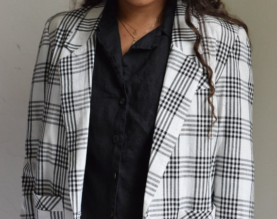 White and Black Plaid Linen Blazer
