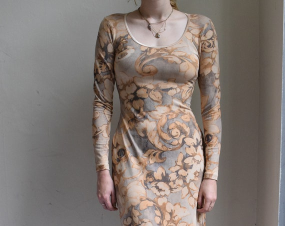 Baroque Watercolour Floor Length Dress