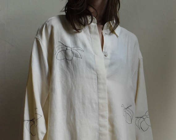Cream Fruit Print Button-up Shirt
