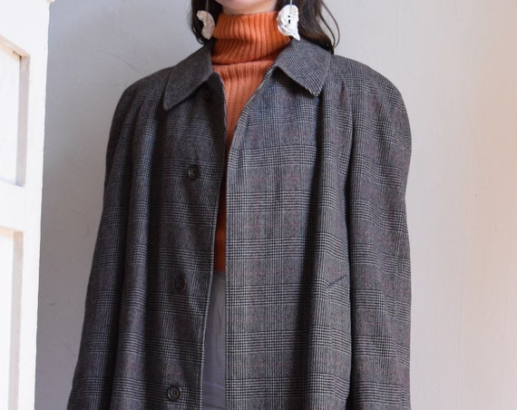 Charcoal Plaid Wool Coat