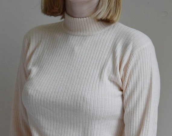 Pale Pink Ribbed Mock-Neck Pullover