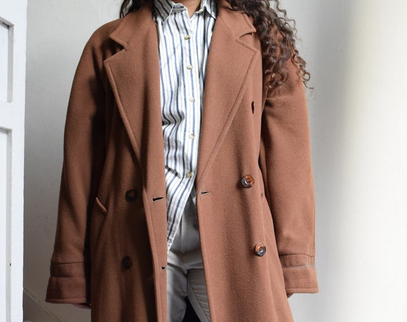Walnut Floor-Length Wool Coat