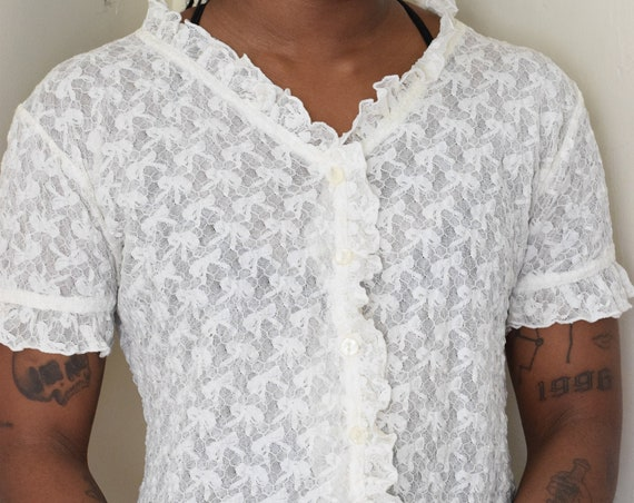 Elastic Mesh Lace Short Sleeve Blouse