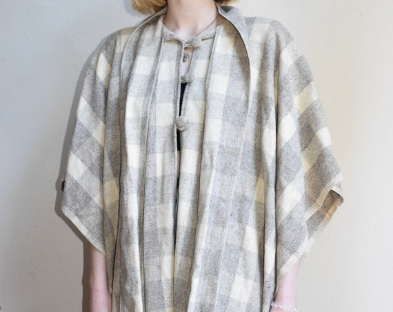 Grey Plaid Wool Poncho