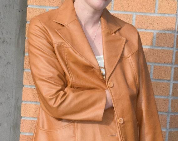 Burnt Orange Vegan Leather Jacket