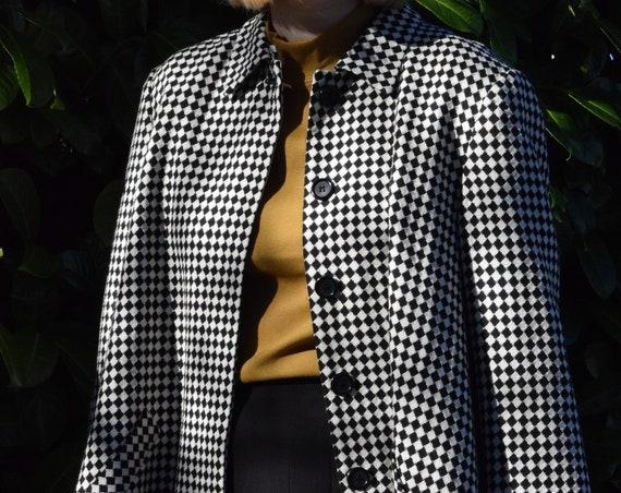 Diamond-Checkered Wool Jacket