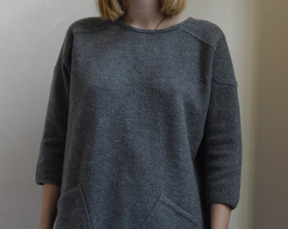 Charcoal Grey Wool Tunic