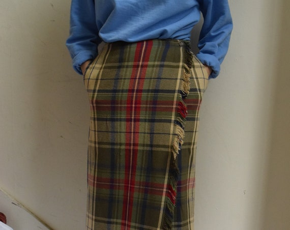 Plaid Cotton Wrap Skirt