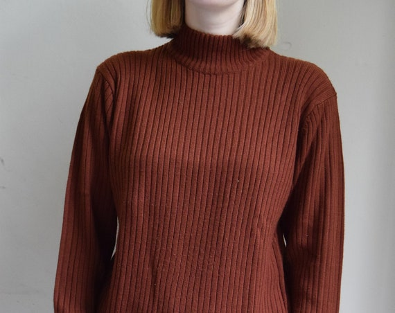 Rust Ribbed Mock Neck Sweater