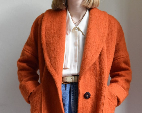 Wool Mohair Coat in Pumpkin