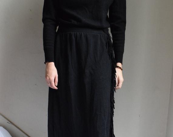 Black Fringed Floor Length Skirt