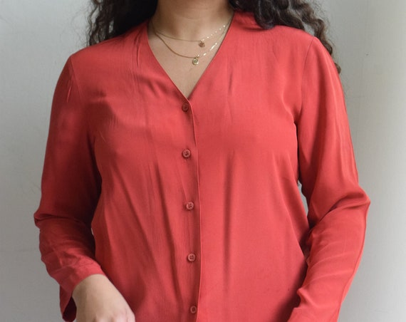 Scarlet Red Silk Long Sleeve Blouse