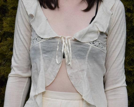 Cream Tie-Front Ruffle Top