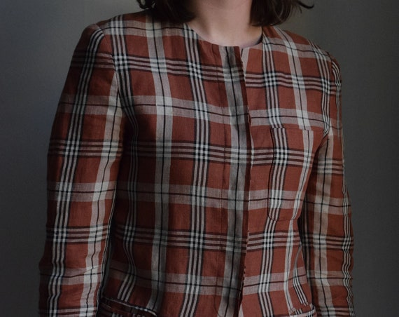 Clay Plaid Linen Long Sleeve Blouse