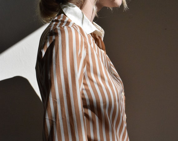 Bronze And White Striped Shirt