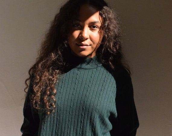 Emerald Green Mock Neck Knit Sweater