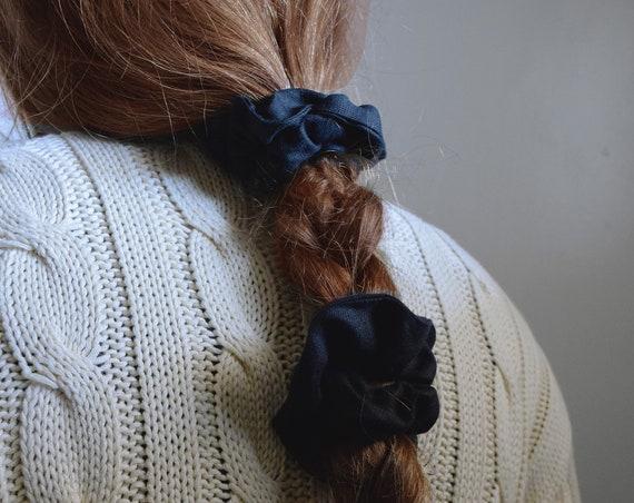 Black Linen Scrunchie
