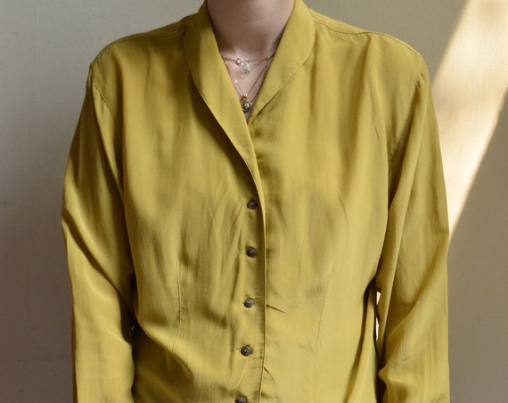 Avocado Silk Long Sleeve Blouse | Print Optional