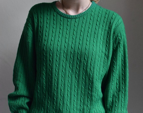 Emerald Green Merino Wool Cable Knit Sweater.