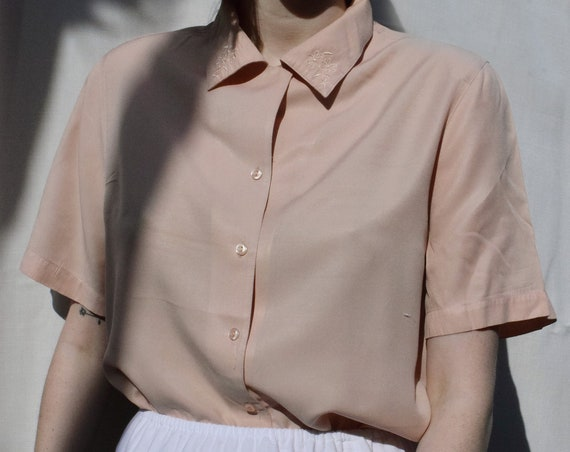 Rose Embroidered Short Sleeve Top