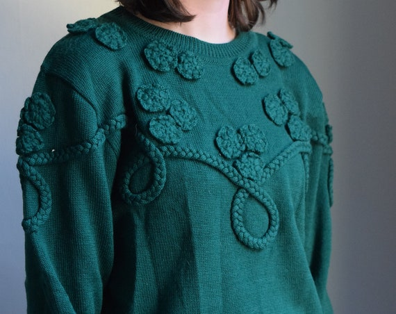Forrest Green Knit Applique Pullover