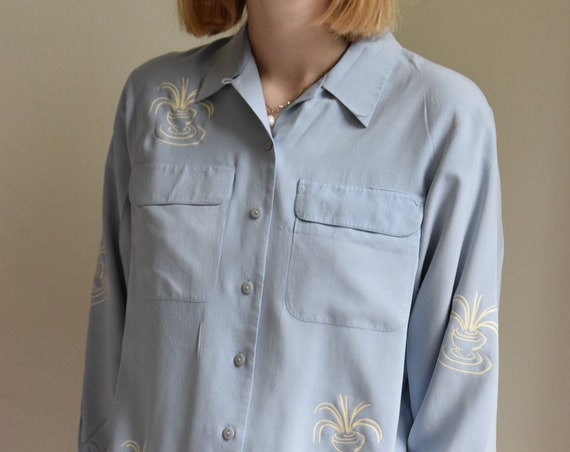 Powder Blue Silk Vessel Shirt