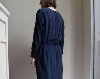 Navy Silk Long Sleeve Dress     Print Optional