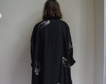 Black Tencel Cocoon Kimono    Print Optional