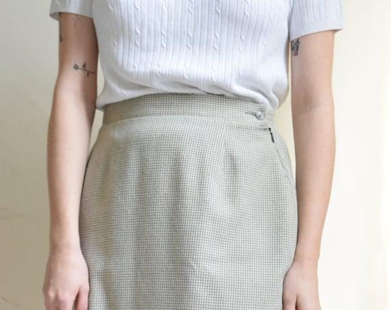 Sage Micro-Houdstooth Skirt