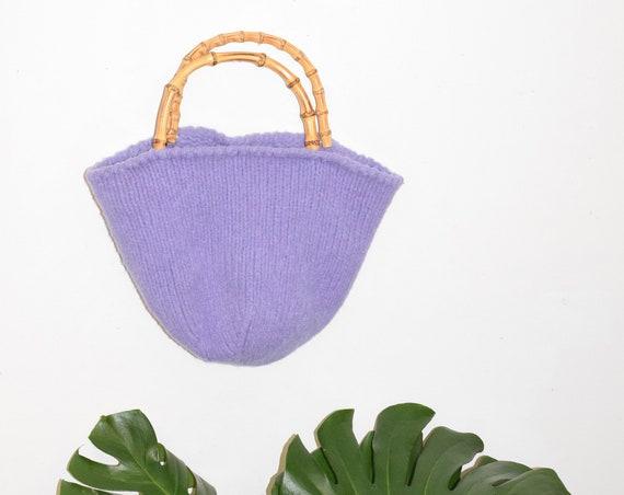 Lilac Knit Bucket Purse