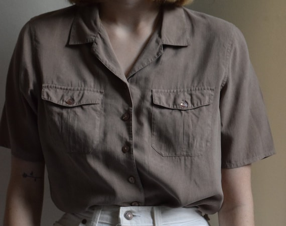 Walnut Silk Short Sleeve Blouse  |  Print Optional