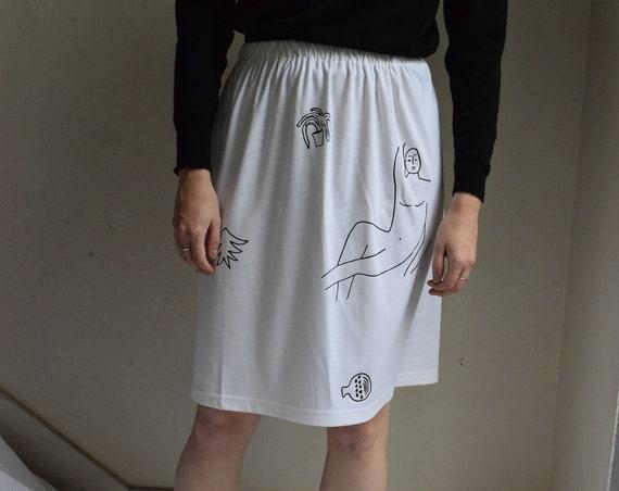 Wilson White Cotton Jersey Skirt