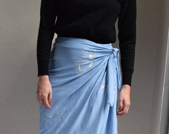 Lucia Cornflower Wrap Skirt  |  Print Optional