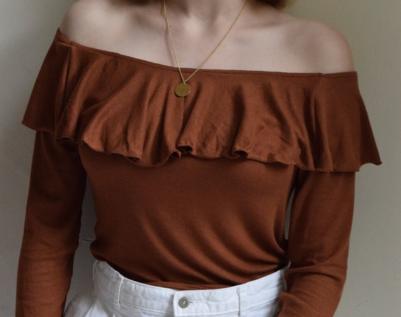 Stevie Ruffled Long Sleeve Knit  |  Terracotta