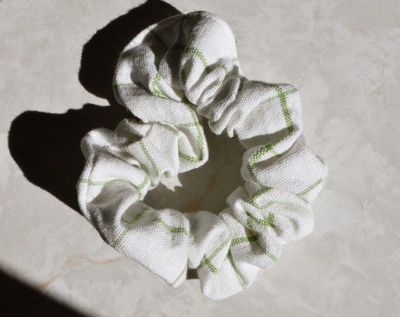 Pistachio Gingham Linen Scrunchies