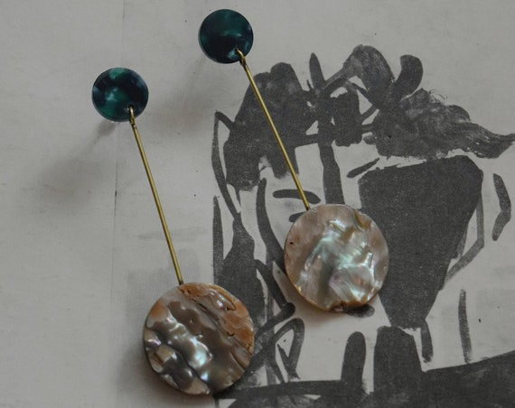 Abalone & Brass Drop Earrings.