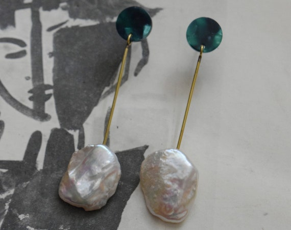 Baroque Pearl & Brass Drop Earrings.