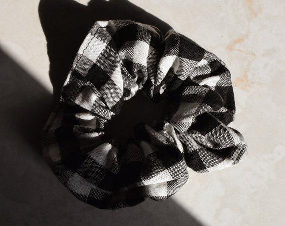Black and White Gingham Hair Scrunchie