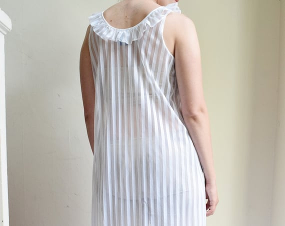 Sheer Pinstripe Slip Dress